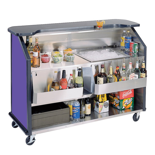 "Lakeside 887 63 1/2"" Stainless Steel Portable Bar with Purple Laminate Finish, 2 Removable 7-Bottle Speed Rails, and 40 lb. Ice Bin"