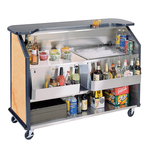 """Lakeside 887HRM 63 1/2"""" Stainless Steel Portable Bar with Hard Rock Maple Laminate Finish, 2 Removable 7-Bottle Speed Rails, and 40 lb. Ice Bin"""
