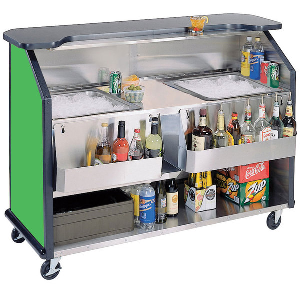 """Lakeside 886G 63 1/2"""" Stainless Steel Portable Bar with Green Laminate Finish, 2 Removable 7-Bottle Speed Rails, and 2 40 lb. Ice Bins Main Image 1"""