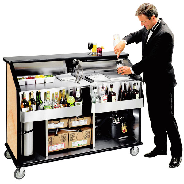 """Lakeside 889 63 1/2"""" Stainless Steel Portable Bar with Hard Rock Maple Laminate Finish, 2 Removable 7-Bottle Speed Rails, and 70 lb. Ice Bin"""
