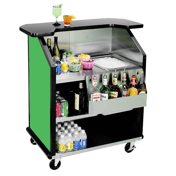 """Lakeside 884 43"""" Stainless Steel Portable Bar with Green Laminate Finish, Removable 7-Bottle Speed Rail, and 40 lb. Ice Bin"""