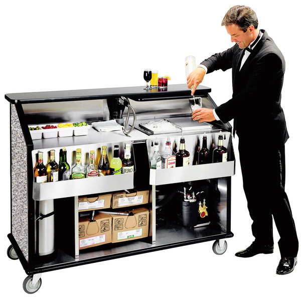 """Lakeside 889 63 1/2"""" Stainless Steel Portable Bar with Gray Sand Laminate Finish, 2 Removable 7-Bottle Speed Rails, and 70 lb. Ice Bin"""