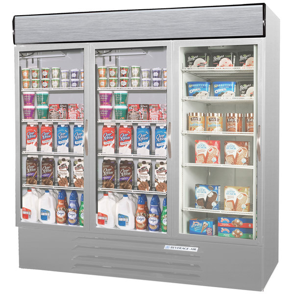 Configuration M Beverage Air MMRF72-1-SW-LED Market Max Stainless Steel Three Section Glass Door Dual Temperature Merchandiser - 72 Cu. Ft.