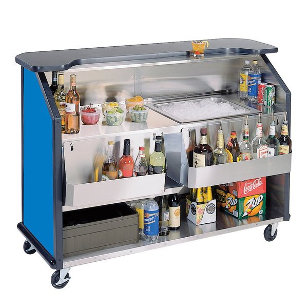 """Lakeside 887BL 63 1/2"""" Stainless Steel Portable Bar with Royal Blue Laminate Finish, 2 Removable 7-Bottle Speed Rails, and 40 lb. Ice Bin"""