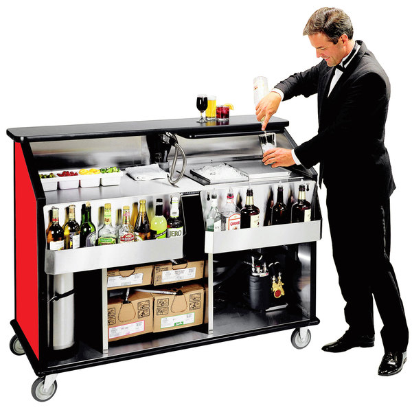 "Lakeside 889 63 1/2"" Stainless Steel Portable Bar with Red Laminate Finish, 2 Removable 7-Bottle Speed Rails, and 70 lb. Ice Bin"
