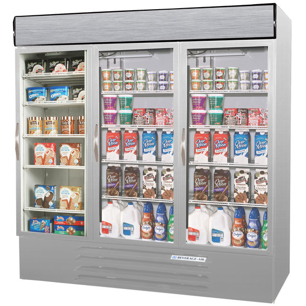 Configuration E Beverage Air MMRF72-1-SW-LED Market Max Stainless Steel Three Section Glass Door Dual Temperature Merchandiser - 72 Cu. Ft.