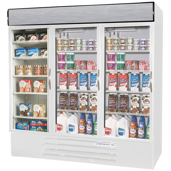 Configuration C Beverage Air Market Max MMRF72-1-WW-LED White 3 Section Glass Door Dual Temperature Merchandiser - 72 Cu. Ft.