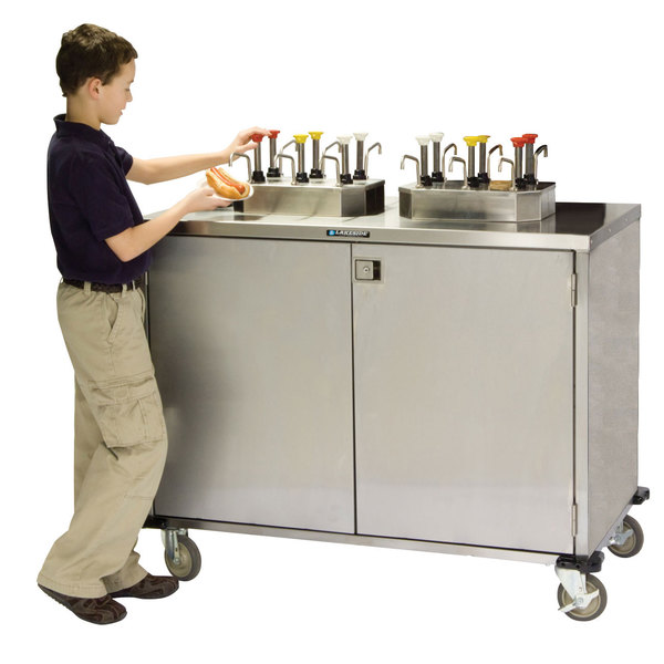 """Lakeside 70210 Stainless Steel EZ Serve 6 Pump Condiment Cart with Beige Suede Finish - 27 1/2"""" x 50 1/4"""" x 47"""""""