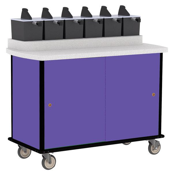 Lakeside 70420 Purple Condi-Express 6 Pump Condiment Cart