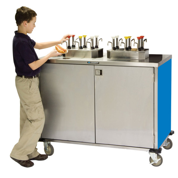 """Lakeside 70220 Stainless Steel EZ Serve 4 Pump Condiment Cart with Royal Blue Finish - 27 1/2"""" x 33"""" x 47"""""""