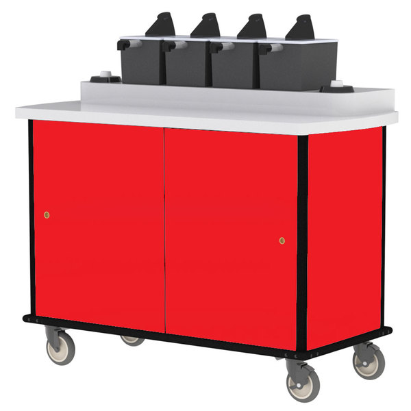 Lakeside 70510RD Red Condi-Express 4 Pump Condiment Cart with (2) Cup Dispensers
