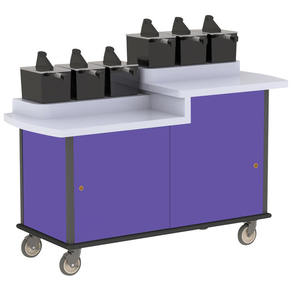 Lakeside 70550 Purple Condi-Express 6 Pump Dual Height Condiment Cart