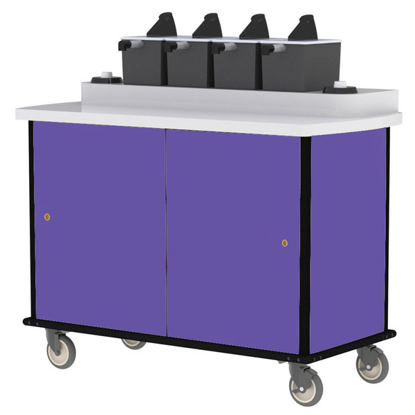 Lakeside 70410P Purple Condi-Express 4 Pump Condiment Cart with (2) Cup Dispensers