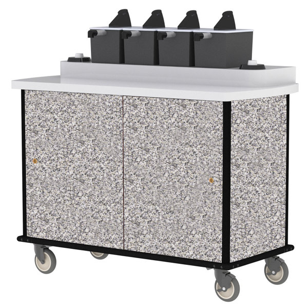 Lakeside 70410GS Gray Sand Condi-Express 4 Pump Condiment Cart with (2) Cup Dispensers