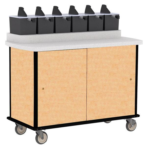 Lakeside 70420 Hard Rock Maple Condi-Express 6 Pump Condiment Cart