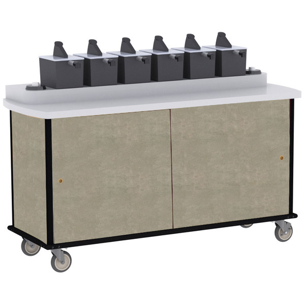 Lakeside 70430 Beige Suede Condi-Express 6 Pump Condiment Cart with (2) Cup Dispensers