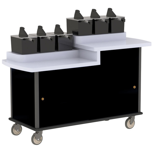 Lakeside 70550 Black Condi-Express 6 Pump Dual Height Condiment Cart