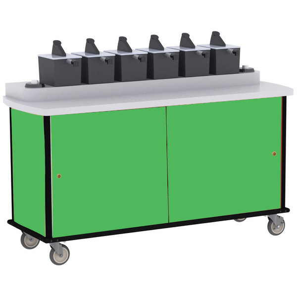 Lakeside 70530G Green Condi-Express 6 Pump Condiment Cart with (2) Cup Dispensers