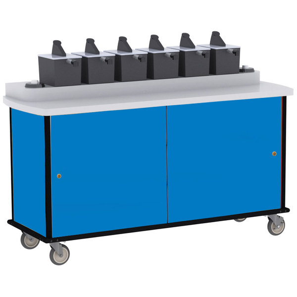 Lakeside 70530 Royal Blue Condi-Express 6 Pump Condiment Cart with (2) Cup Dispensers