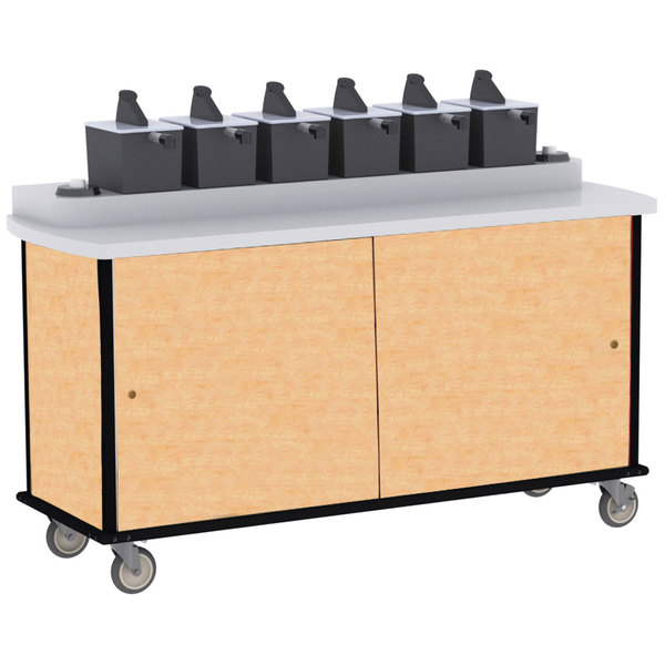 Lakeside 70430 Hard Rock Maple Condi-Express 6 Pump Condiment Cart with (2) Cup Dispensers