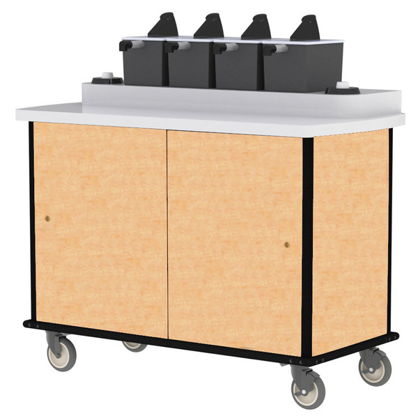 Lakeside 70510HRM Hard Rock Maple Condi-Express 4 Pump Condiment Cart with (2) Cup Dispensers