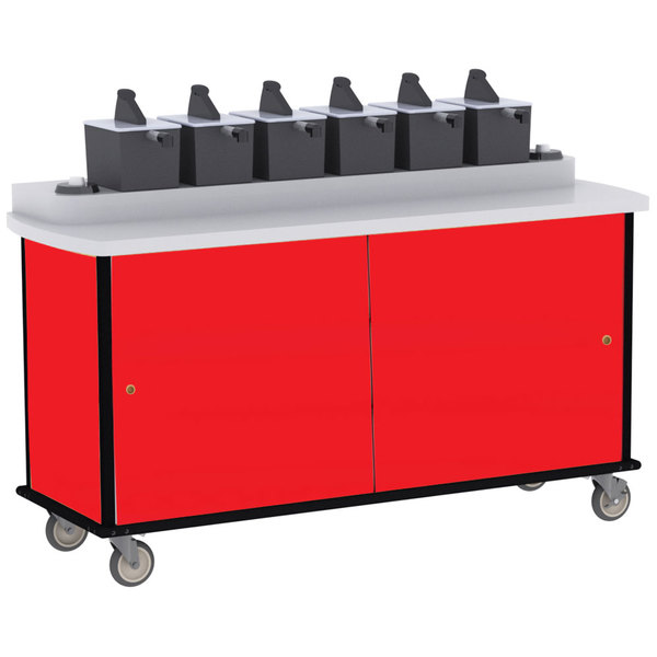 Lakeside 70530 Red Condi-Express 6 Pump Condiment Cart with (2) Cup Dispensers