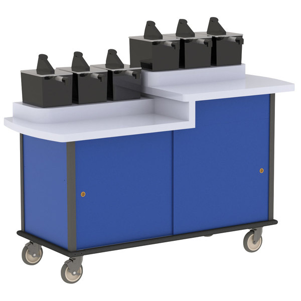 Lakeside 70550 Royal Blue Condi-Express 6 Pump Dual Height Condiment Cart