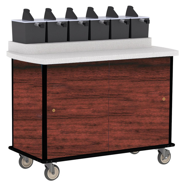 Lakeside 70520RM Red Maple Condi-Express 6 Pump Condiment Cart