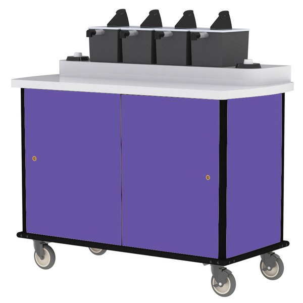 Lakeside 70510P Purple Condi-Express 4 Pump Condiment Cart with (2) Cup Dispensers