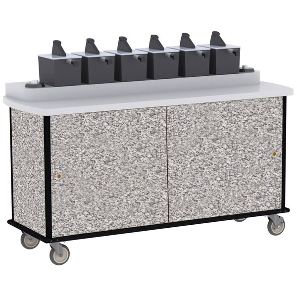 Lakeside 70430GS Gray Sand Condi-Express 6 Pump Condiment Cart with (2) Cup Dispensers