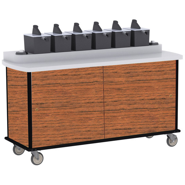 Lakeside 70430 Victorian Cherry Condi-Express 6 Pump Condiment Cart with (2) Cup Dispensers