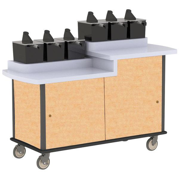 Lakeside 70550 Hard Rock Maple Condi-Express 6 Pump Dual Height Condiment Cart