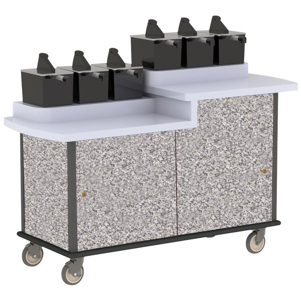 Lakeside 70550 Gray Sand Condi-Express 6 Pump Dual Height Condiment Cart