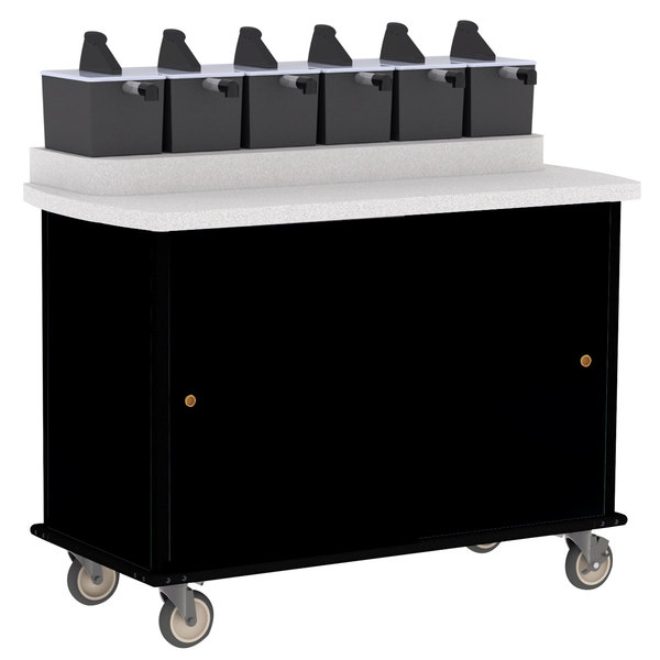 Lakeside 70520 Black Condi-Express 6 Pump Condiment Cart