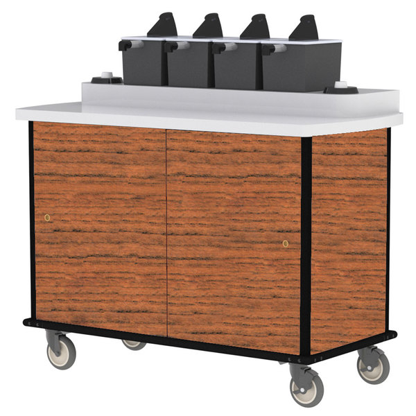 Lakeside 70410 Victorian Cherry Condi-Express 4 Pump Condiment Cart with (2) Cup Dispensers