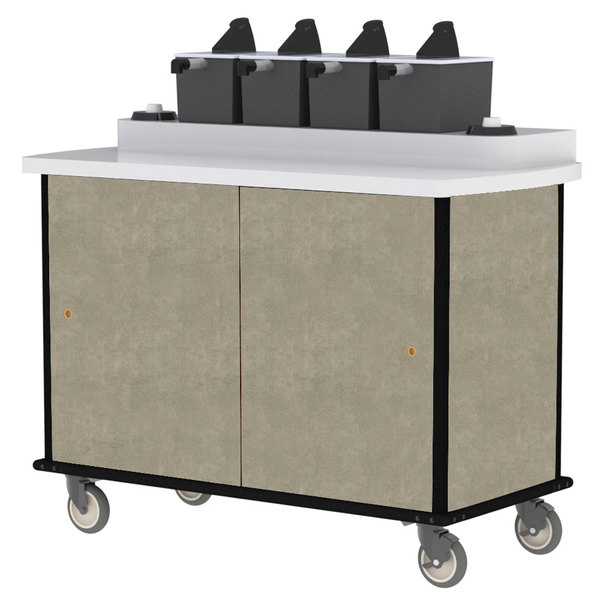 Lakeside 70410BS Beige Suede Condi-Express 4 Pump Condiment Cart with (2) Cup Dispensers