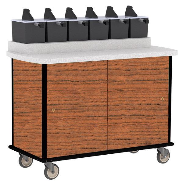 Lakeside 70420 Victorian Cherry Condi-Express 6 Pump Condiment Cart