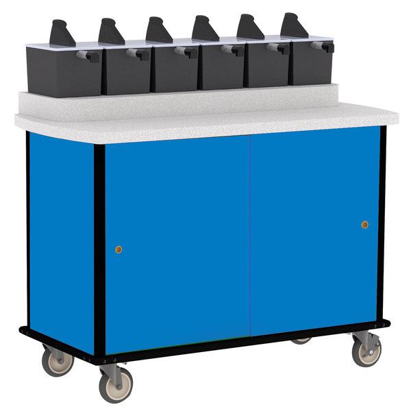 Lakeside 70420 Royal Blue Condi-Express 6 Pump Condiment Cart