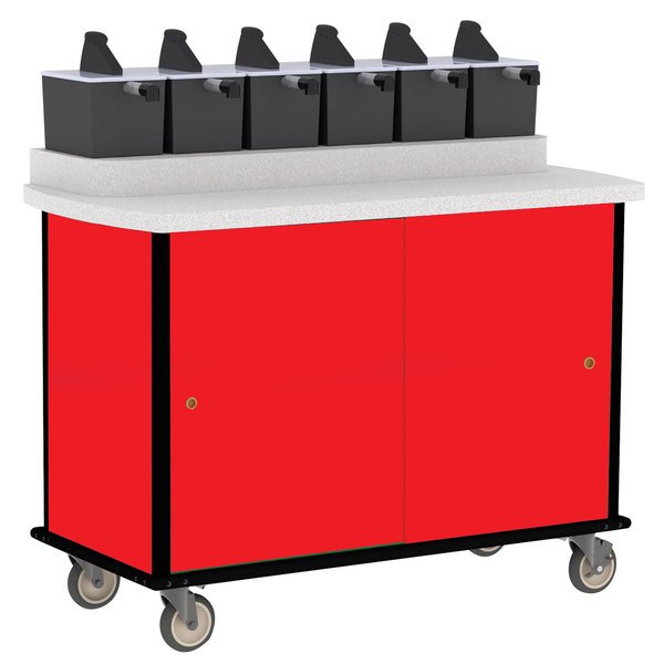 Lakeside 70420 Red Condi-Express 6 Pump Condiment Cart
