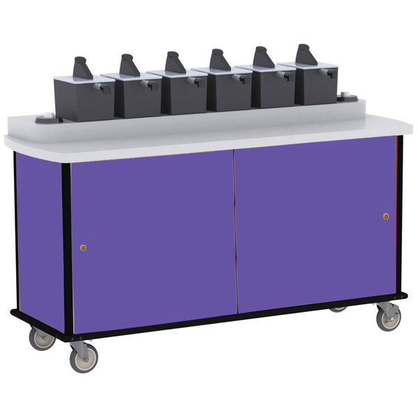 Lakeside 70430 Purple Condi-Express 6 Pump Condiment Cart with (2) Cup Dispensers