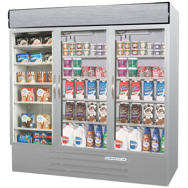 Beverage-Air MMRF72-1-SW-LED Market Max Stainless Steel Three Section Glass Door Dual Temperature Merchandiser - 72 Cu. Ft.