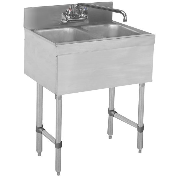 """Advance Tabco SLB-22C Lite Two Compartment Stainless Steel Bar Sink - 24"""" x 18"""" Main Image 1"""
