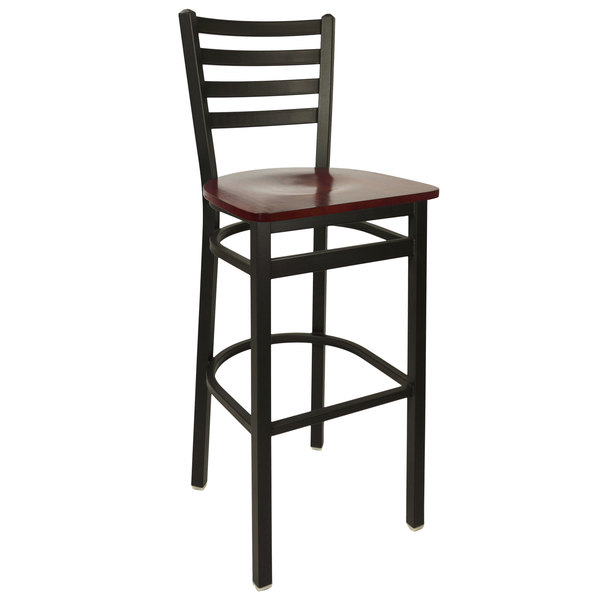 BFM Seating 2160BMHW-SB Lima Metal Ladder Back Barstool with Mahogany Wooden Seat