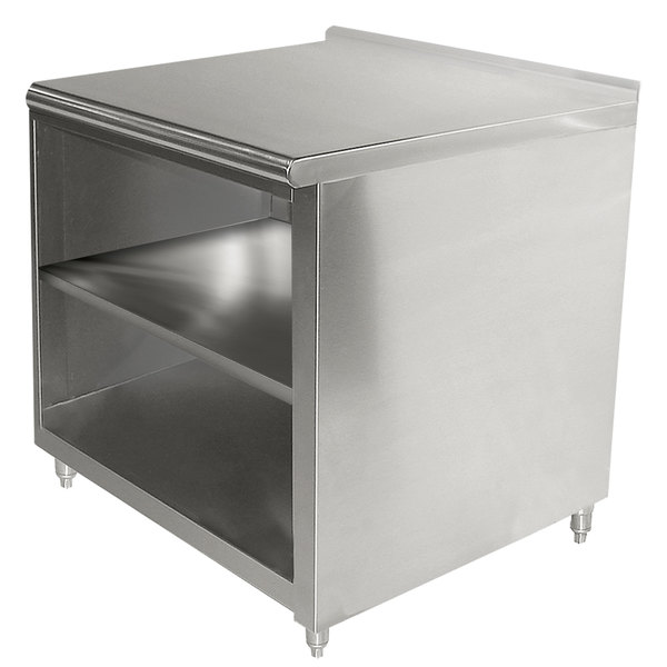 """Advance Tabco EF-SS-303M 30"""" x 36"""" 14 Gauge Open Front Cabinet Base Work Table with Fixed Mid Shelf and 1 1/2"""" Backsplash"""