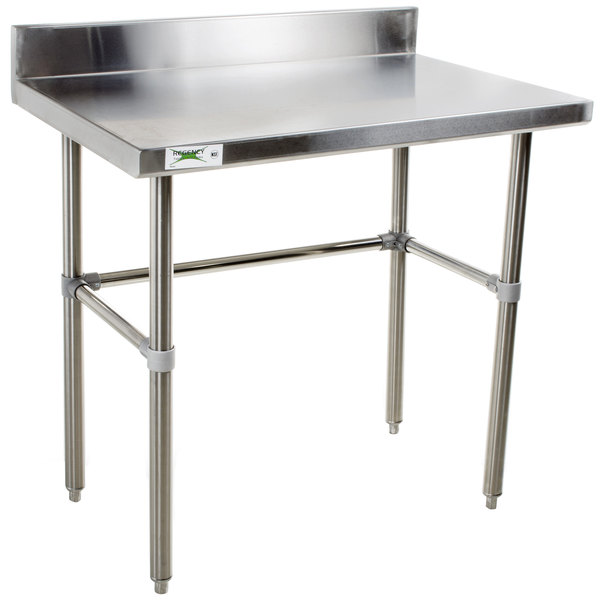 "Regency 24"" x 36"" 16-Gauge 304 Stainless Steel Commercial Open Base Work Table with 4"" Backsplash Main Image 1"