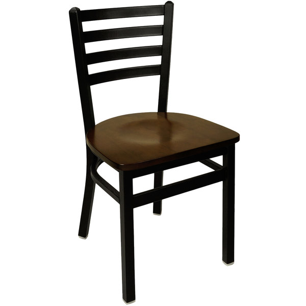 BFM Seating 2160CWAW-SB Lima Metal Ladder Back Side Chair with Walnut Wooden Seat