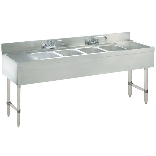 """Advance Tabco CRB-64C Lite Four Compartment Stainless Steel Bar Sink with Two 12"""" Drainboards - 72"""" x 21"""""""