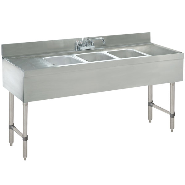 """Advance Tabco CRB-63C Lite Three Compartment Stainless Steel Bar Sink with Two 18"""" Drainboards - 72"""" x 21"""""""