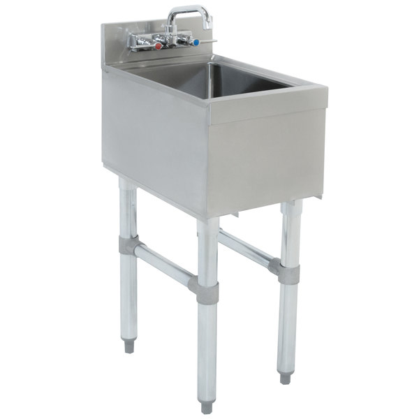 """Advance Tabco SL-HS-12 Stainless Steel Underbar Hand Sink with Splash Mount Faucet - 12"""" x 18"""""""