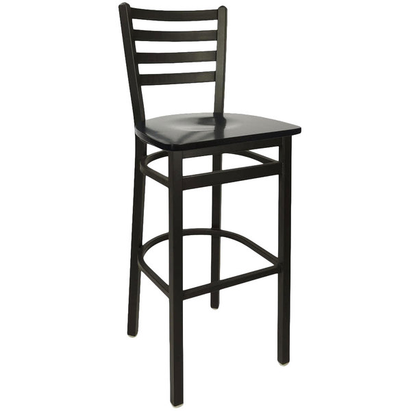 Bfm Seating 2160bblw Sb Lima Metal Ladder Back Barstool With Black Wooden Seat